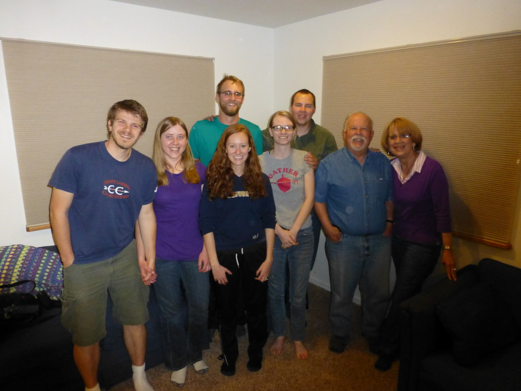 Our new friends in Gunnison (left to right: Rich, Joy, Rachel, Mike, Hannah, Adam, Rich, and Shelba)