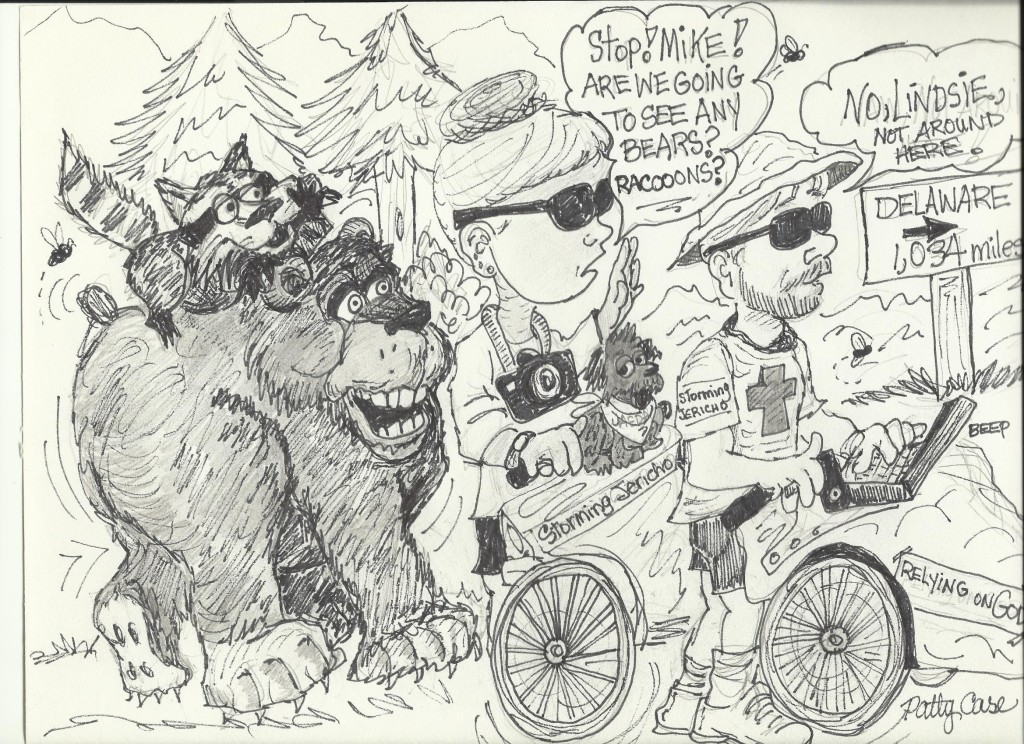 Cartoon of the Storming Jericho journey by Patty Case
