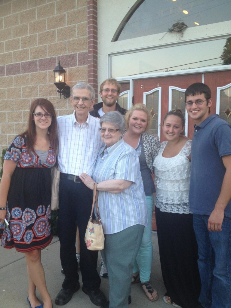 Mike with Grandpa Jack (and Becky, Grandma Mary, Kelsey, Brooke, and Jake)
